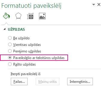 Mygtukas Paveikslėlio ar tekstūros užpildas, esantis srityje Paveikslėlio formatavimas