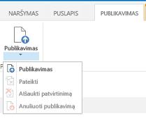 Publikavimo skirtuko, kuriame yra publikavimo puslapio publikavimo, publikavimo atšaukimo ir pateikimo patvirtinti mygtukai, ekrano nuotrauka