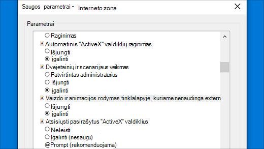 """Saugos parametrai: """"ActiveX"""" valdikliai naršyklėje """"InternetExplorer"""""""