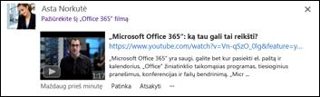 """""""YouTube vaizdo įrašas, įdėtas į naujienų teikimo skelbimą"""
