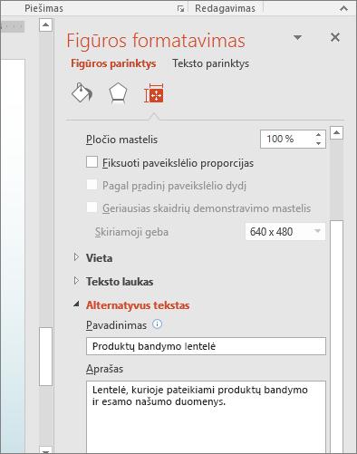 Srities Formatuoti figūrą su laukai alternatyvus tekstas, apibūdinantis pažymėtos lentelės ekrano nuotrauka