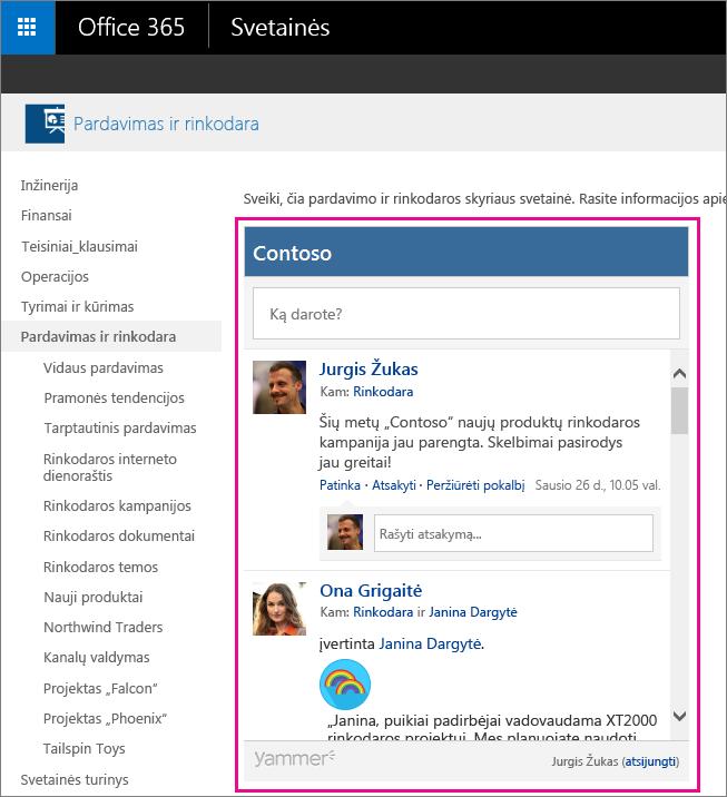 """""""Yammer"""" grupės informacijos santrauka, įdėta į """"SharePoint"""" puslapį"""