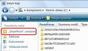 """""""SharePoint"""" svetainių saitai dialogo lange Įrašyti kaip"""