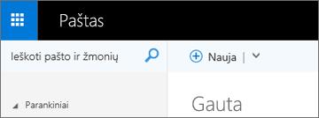 """Kaip atrodo juostelė programoje """"Outlook Web App"""""""
