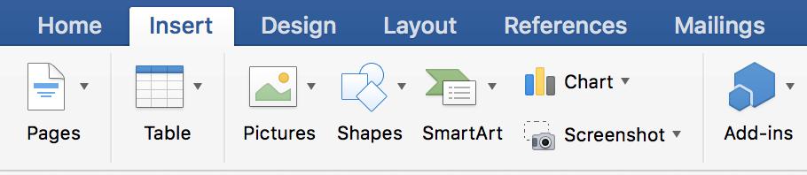 Spustelėkite skirtuką Įterpimas, tada spustelėkite Diagrama.