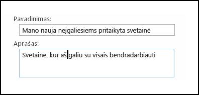 """""""SharePoint Online"""" naujos svetainės pavadinimo dialogo langas"""