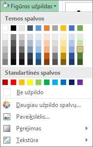 Figūros užpildo spalvos parinkčių meniu