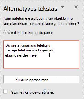 """Alternatyviojo teksto sritis naudojant """"PowerPoint"""", skirtą """"Windows"""""""