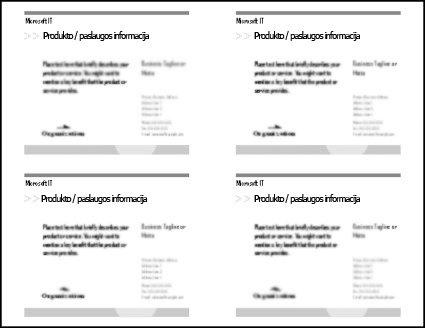 Atviruko spaudinio peržiūroje rodomi keturi atvirukai viename popieriaus lape.