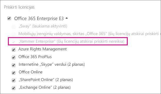 """""""Office 365"""" administravimo centro sekcijos Priskirti licencijas su pažymėta """"Yammer Enterprise"""" licencija ekrano nuotrauka."""