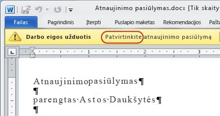 Patvirtinkite elemento pranešimų juostos tekstą