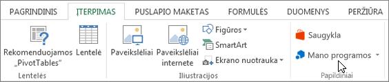 """Skirtuko Įterpimas """"Excel"""" juostelėje, kurioje žymiklis, užvestas ant mano taikomosios programos dalies ekrano nuotrauka Pasirinkite mano taikomosios programos access programoms skirtas """"Excel""""."""