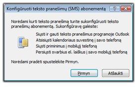 Teksto pranešimų abonemento konfigūravimas