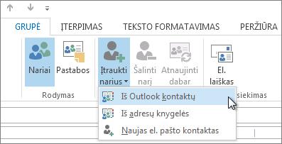 """Pridėkite narių iš """"Outlook"""" kontaktų"""