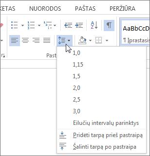 """Skirtukas pagrindinis programoje """"Word"""" rodo eilučių ir pastraipų meniu ekrano nuotrauka"""