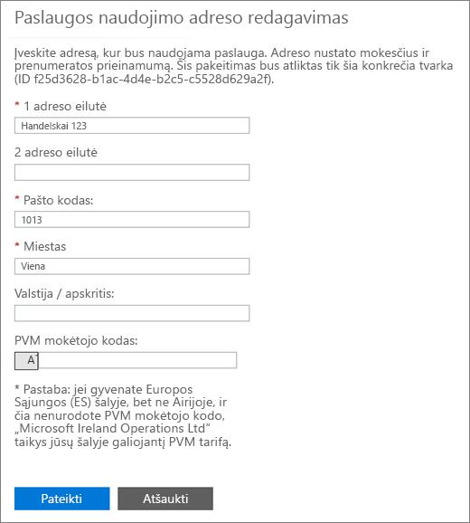 Redaguoti puslapio paslaugų naudojimo adreso su PVM skaičių lango apačioje.
