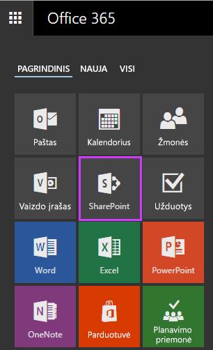 """Svetainių plytelė """"SharePoint"""" svetainėms pasiekti, naudojant """"Office 365"""" verslui."""