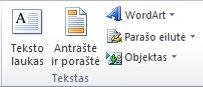 """""""Excel 2010"""" juostelės skirtuko Įterpti grupė Tekstas."""
