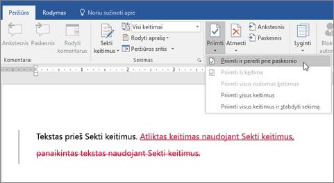 """""""Office 365"""" """"Word"""" keitimų sekimas"""
