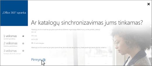 Pasirinkite Pirmyn, kad tęstumėte katalogų sinchronizavimo nustatymą