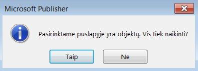 Įspėjimo dialogo langas naikinant puslapį, kuriame yra objektų.
