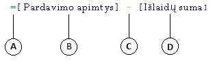 Apskaičiuojamojo stulpelio formulė