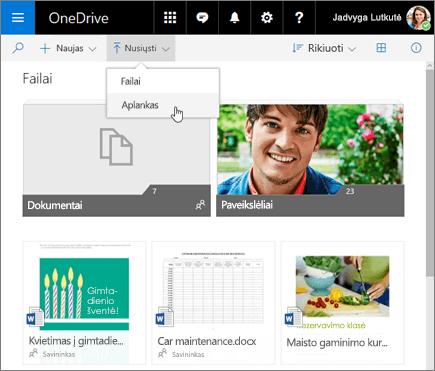"""OneDrive"" aplanko nusiuntimas"