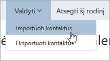 Parinkties Importuoti kontaktus, esančios valdymo meniu, ekrano kopija