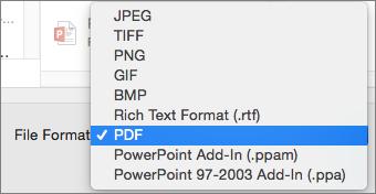"""""""PowerPoint 2016"""", skirtos """"Mac"""", PDF eksportavimas"""