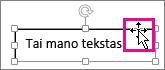Žymiklį užvedus ant teksto lauko kraštinės, jis pasikeičia į rodyklę keturiais galais