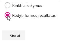 """""""Microsoft Forms"""" puslapio dalies pasirinkimas formų rezultatams rodyti."""