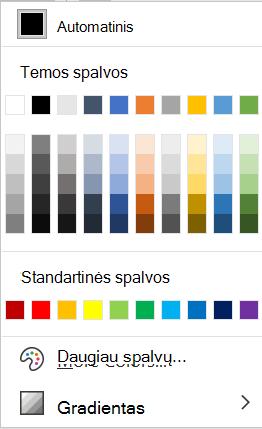 """Šrifto spalvos meniu programoje """"Word""""."""