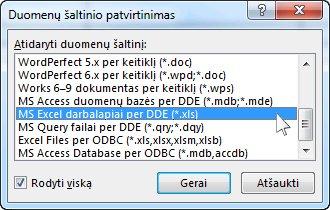 Dialogo langas Duomenų šaltinio patvirtinimas