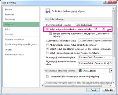 """Parinktis Automatinis atkūrimas skirtuke Įrašyti, esančiame dialogo lange """"Excel"""" parinktys"""