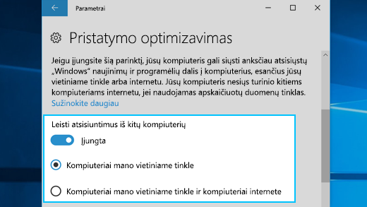 """Pristatymo optimizavimo funkcijos sistemoje """"Windows 10"""" parametrai"""