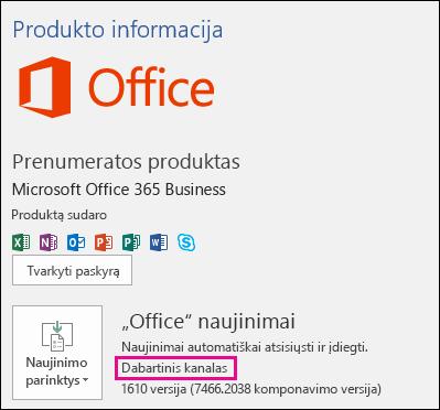 """Produkto paskyros informacija dabartinių naujinimų kanalo """"Office 365 Business"""" prenumeratai"""