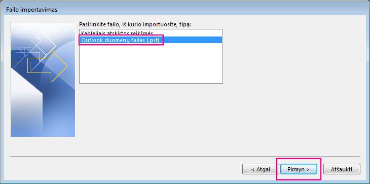 """Importuokite """"Outlook"""" duomenų failą (.pst)"""