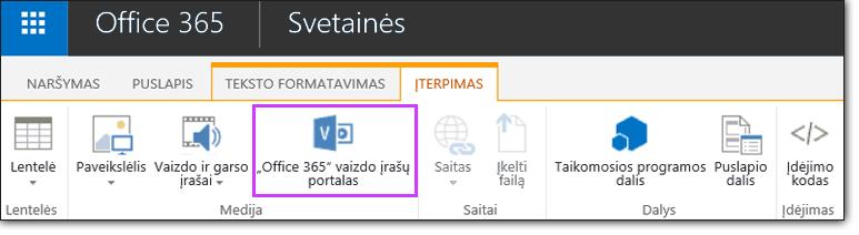 """""""Office 365"""" vaizdo įrašo vaizdo įrašo įdėjimas"""