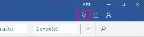 """Rodo, kur """"Word Mobile"""" juostelėje yra piktograma """"Ką norite daryti"""""""