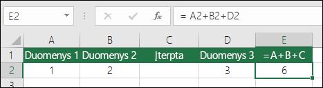 = A+B+C formulės nebus naujinamos, jei įtrauksite eilutes