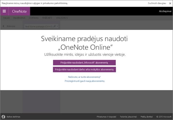 """Naudodami """"OneNote"""" galite sukurti elektroninį bloknotą, kurį galite naudoti bet kur"""