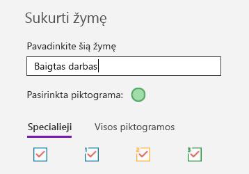 """Pasirinktinių žymių kūrimas """"OneNote"""", skirtoje """"Windows 10"""""""