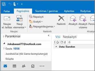"""Paveikslėlio, kaip atrodo, jei turite """"Outlook.com"""" abonementą programoje """"Outlook 2016""""."""