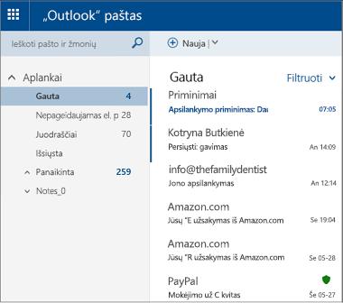 """Pirminis """"Outlook.com"""" arba """"Hotmail.com"""" ekranas"""
