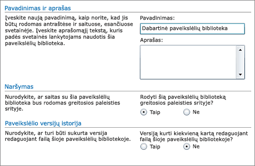 Dialogo langas, kuriame galite įtraukti vardą, diagramą, sparčiąją navigaciją ir versijų kūrimą.