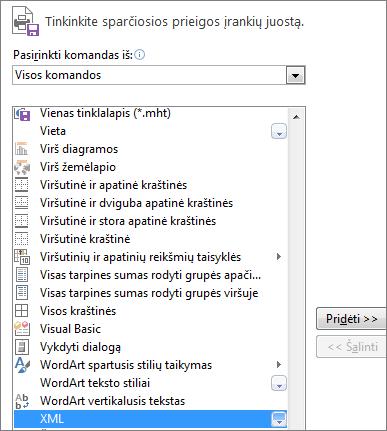 Komandų sąraše pasirinkite XML, tada spustelėkite Įtraukti.