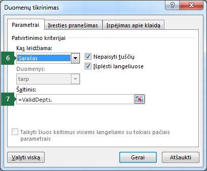 """Programos """"Excel"""" skirtuke Parametrai pasirinkite išplečiamojo sąrašo parametrus"""