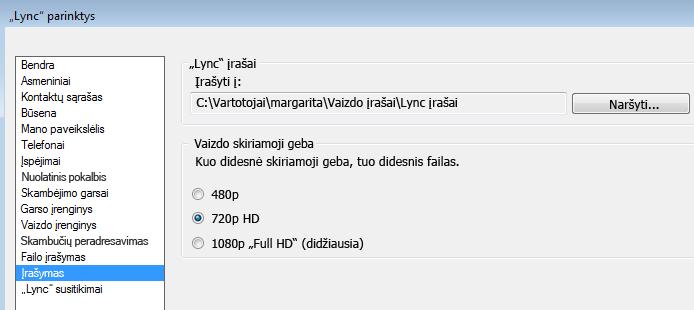 Įrašo skiriamosios gebos ir vietos ekrano kopija
