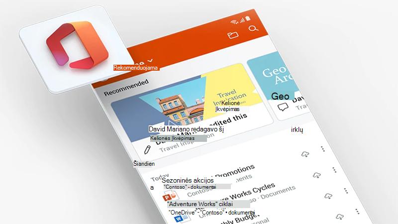 """""""Office"""" taikomosios programos ekranas mobiliajame telefone"""
