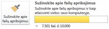 """""""SharePoint Workspace"""" dokumentų matuoklis, naudojant nuo 7 500 iki 9 999 dokumentų"""